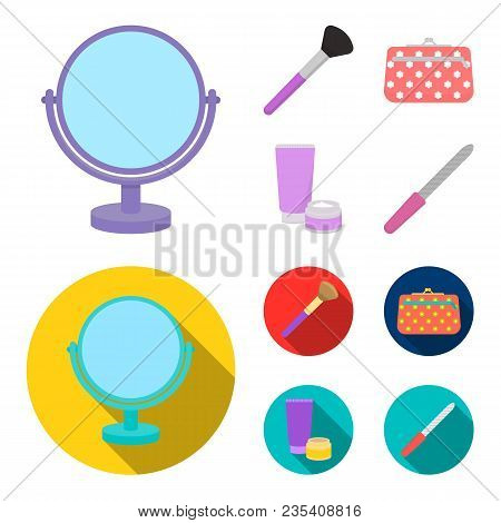 Table Mirror, Cosmetic Bag, Face Brush, Body Cream.makeup Set Collection Icons In Cartoon, Flat Styl