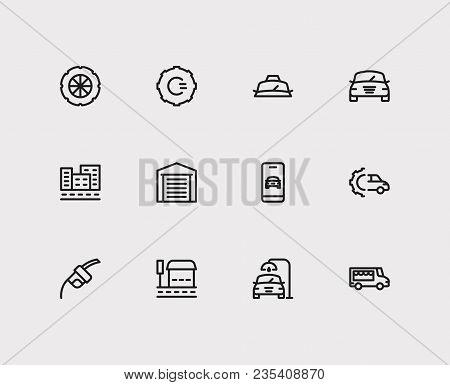 Auto Icons Set. Bus Stop And Auto Icons With Fuel Pump, Car Logo And Car Garage. Set Of Elements Inc