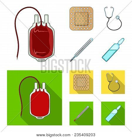 Package With Donor Blood And Other Equipment.medicine Set Collection Icons In Cartoon, Flat Style Ve