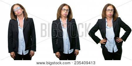 Middle age business woman with sleepy expression, being overworked and tired over white background