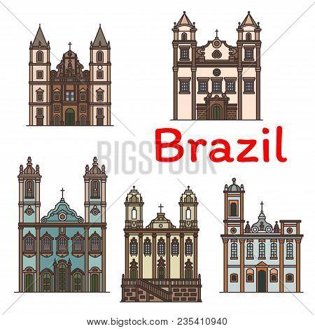 Brazilian Travel Landmark Icon Of Roman Catholic Religious Architecture. Church Of Our Lady Of Carmo