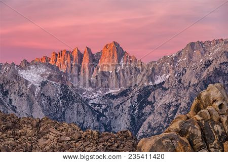 Mountain Whitney View On Sunrise At Alabama Hills, Eastern Sierra Nevada Mountains, Lone Pine, Calif
