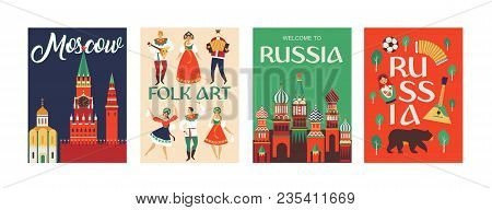 Welcome To Russia. Russian Traditional Folk Art. Poster Flat Design Vector Illustration.