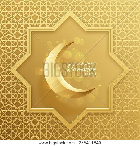 Ramadan Kareem Festive Card. Beautiful Festive Background With Crescent In Paper Art Style. Vector I