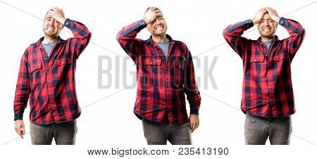 Young man terrified and nervous expressing anxiety and panic gesture, overwhelmed isolated over white background, collage composition