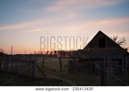 Dramatic Sunset With Old Wooden Barn In The Countryside, Abandoned Old Barn