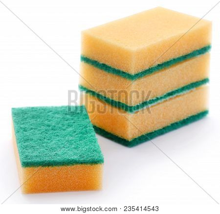 Kitchen Sponge With Scotch Brite Over White Background