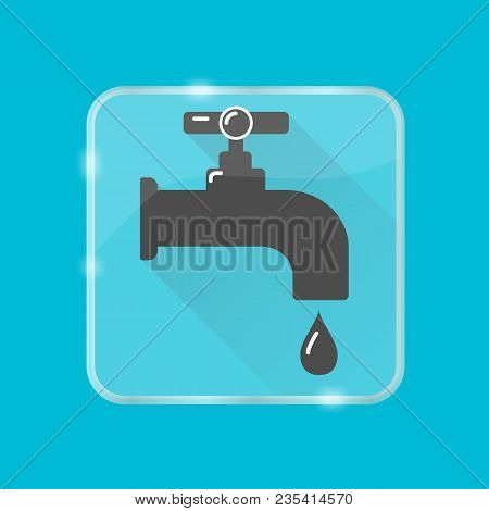 Water Tap Silhouette Icon In Flat Style On Transparent Button. Leaking Faucet With Liquid Drop. Wate