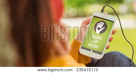 Composite image of vector image of sign up now text with icons