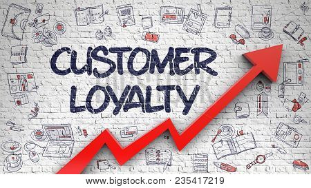 Customer Loyalty Drawn On Brick Wall. Illustration With Hand Drawn Icons. Customer Loyalty Inscripti
