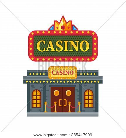 Modern Architectural Casino Building, Gambling House For Games. Building For Night And Day Games, Gr