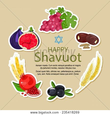 Shavuot Icon Set, Cartoon Style. Collection Of Decoration Elements Of The Jewish Holiday Shavuot Wit
