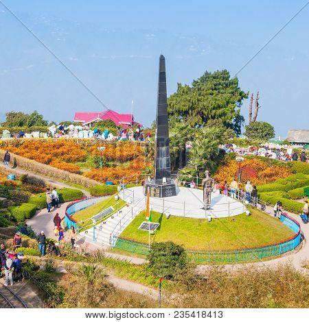 Darjeeling, India - November 17, 2015: The Batasia Loop Is A Spiral Railway Of The Darjeeling Himala
