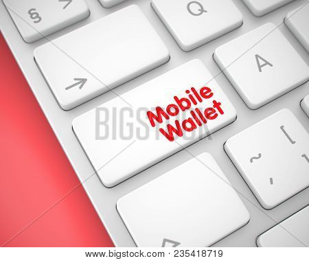 Business Concept: Mobile Wallet On The Modernized Keyboard Lying On Red Background. Online Service C