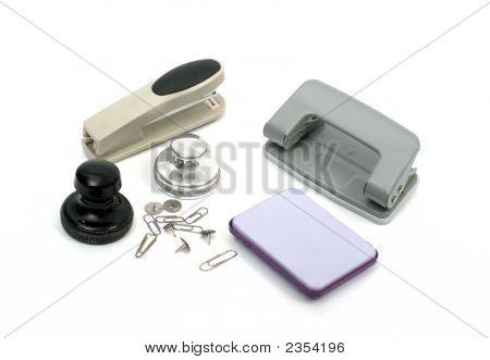 Stamp, Inkpad,Stapler & Puncher