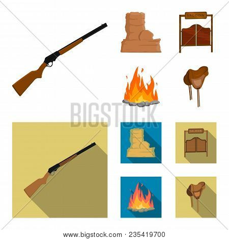 Winchester, Saloon, Rock, Fire.wild West Set Collection Icons In Cartoon, Flat Style Vector Symbol S