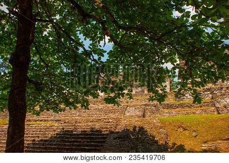 Chiapas, Mexico. Palenque. The Pyramid On The Background Of Green Tree Leaves. Landscape In The Anci