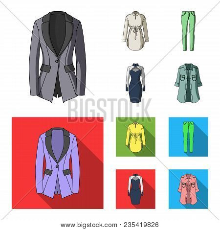 Women Clothing Cartoon, Flat Icons In Set Collection For Design.clothing Varieties And Accessories V