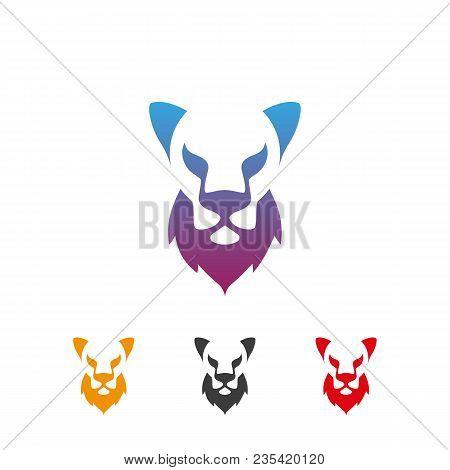Bald Lion With A Beard Icons Set. Bald Lion With A Beard Logo Idea For The Barbershop Business Card,