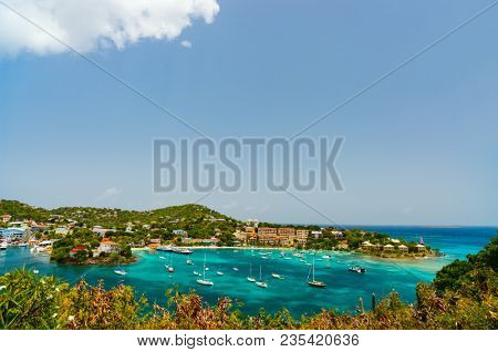 Panorama of Cruz Bay the main town on the island of St. John USVI, Caribbean