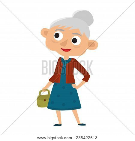 Happy Senior Lady With Silver Hair With Bag. Cartoon Old Age Woman Isolated On White Background.