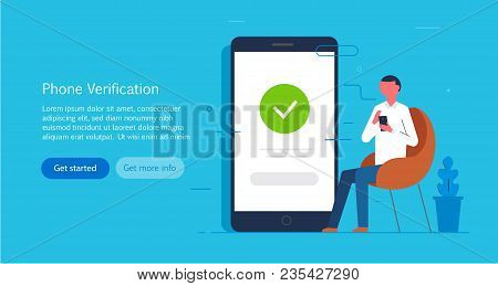 Man Using A Smartphone. Web Surfing, Login To The Account, Chat. Landing Page. Vector Illustration I