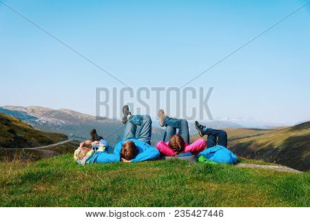 Family With Kids Relax Travel In Scenic Nature, Family Vacation In Nature