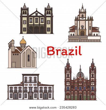 Brazilian Travel Landmark Of Rio De Janeiro Icon. Church Of Our Lady Of The Candelaria, Church Of Ou