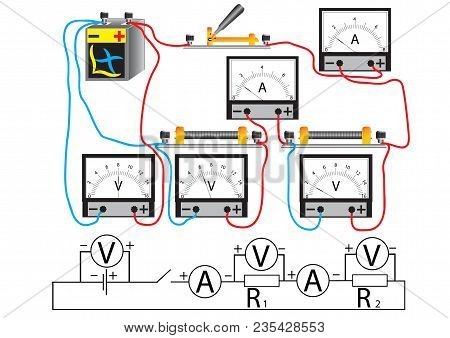 The Electrical Circuit Consisting Of Consecutively Connected Consumers Of Electrical Power, - Resist