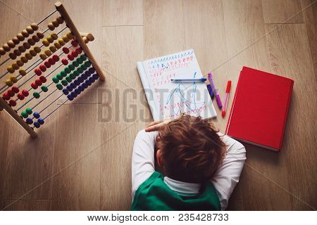 Little Boy Tired Stressed Of Doing Homework, Learning Difficulties