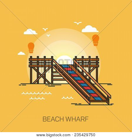 Wharf On Beach Or Pier At Sea, Wooden Dock At Ocean Or Footbridge At Sea, Pontoon At Harbor, Bridge