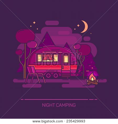 Trailer And Campfire At Night. Outdoor View On Cartoon Recreation Vehicle With Trees And Moon. Carri
