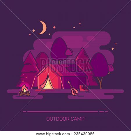 Outside Or Outdoor Night View At Camp With Moon. Tent Or Tabernacle, Bivvy And Campfire, Guitar And