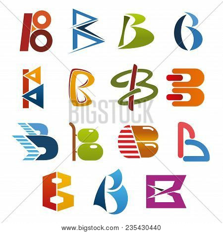 Letter B Isolated Icon Set Of Abstract Alphabet Symbol. Business Identity And Corporate Branding Fon