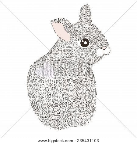 Happy Easter Greeting Card, Poster, With Cute Hand Drawn Rabbit. Bunny Illustration. T-shirt Vintage
