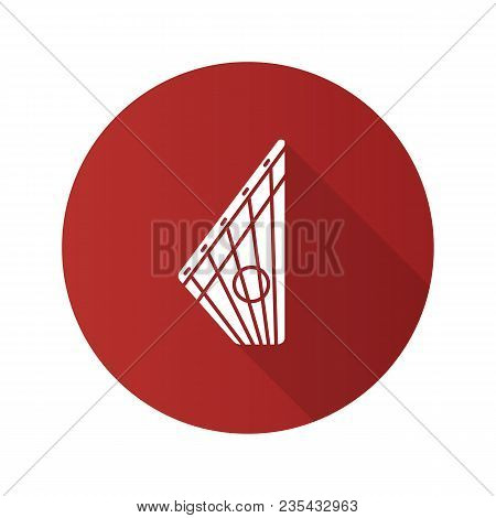 Gusli Flat Design Long Shadow Glyph Icon. Russian Psaltery. Vector Silhouette Illustration