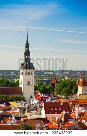Aerial View Of The Old Part Of City Tallinn, Estonia, With The Spire Of Saint Nicholas' Church.