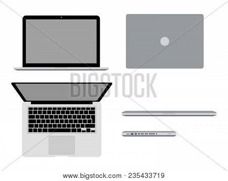 A Laptop Pro In Different Positions Vector Illustration. Open Macbook, Closed, In Profile And Top Vi