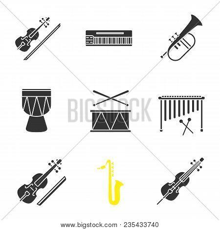 Musical Instruments Glyph Icons Set. Violin, Mellotron, Flugelhorn, Kendang, Drum, Marimba, Viola, S
