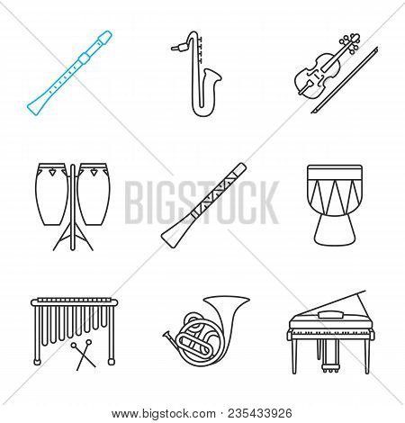 Musical Instruments Linear Icons Set. Didgeridoo, Saxophone, Violin, Conga, Flute, Kendang, Marimba,