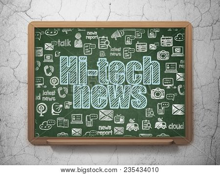News Concept: Chalk Blue Text Hi-tech News On School Board Background With  Hand Drawn News Icons, 3