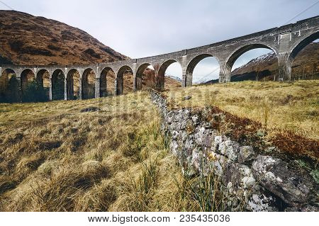 Famous Glenfinnan Viaduct In Scotland, United Kingdom.
