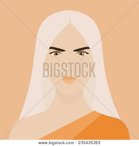 A Brave Woman. Portrait Of A Girl. The Face Of The Amazon. Determination. Vector Illustration