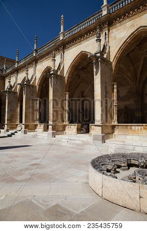 The Courtyard Of The Cathedral In Leon. The Santa Maria Cathedral Of Leon Built On The Ruins Of A Ro