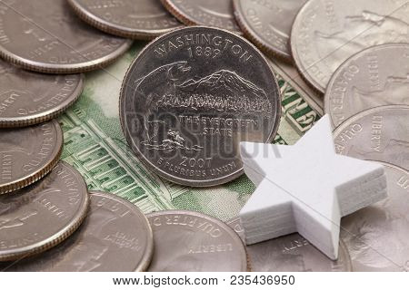 A Quarter Of Washington, Quarters Of Usa And White Star. A Circle Of The Us Quarters With George Was