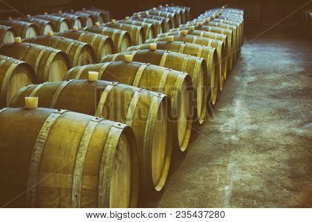Wine Barrels In Wine-vaults In Order. Wine Barrels Stacked In The Old Cellar Of The Winery.