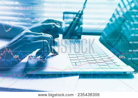 Double Exposure Yong Businessmen Calculate About Cost And Stock Market Or Forex Graph Suitable For F