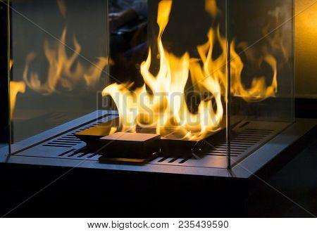 Modern Bio Fireplot Fireplace On Ethanol Gas. Smart Ecological Alternative Technologies. Contemporar