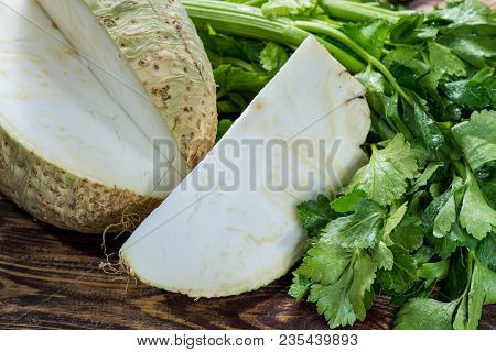 Fresh Raw Celeriac Root Head And Celery Green Crisp Petiole, Ingredient For Many Healthy Dishes On W