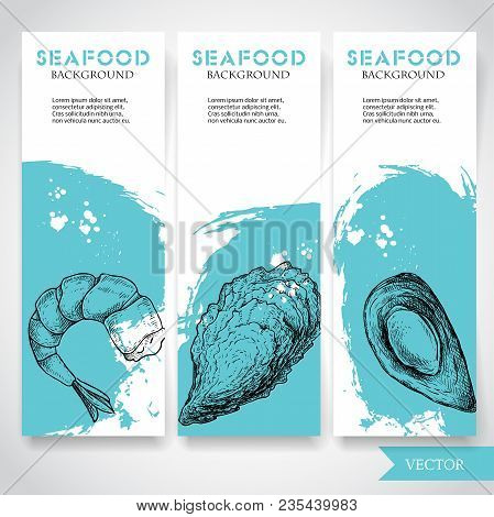 Seafood Banner With Watercolor Blue Background And Hand Drawn Food. Sketch Prepared Shrimp, Oyster A